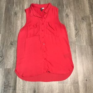 Divided Button Down Flowy Tank w/ Front Pockets
